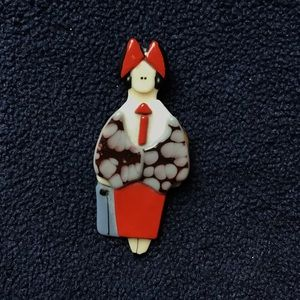 Vintage 1989 enamel girl boss pin.